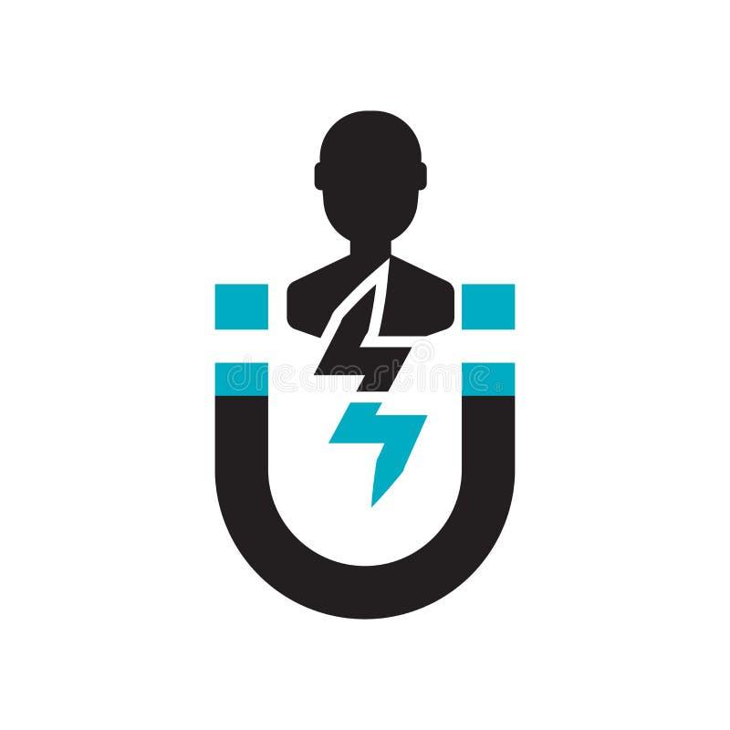 用户订婚象在白色背景和标志隔绝的传染媒介标志,用户订婚商标概念 库存例证