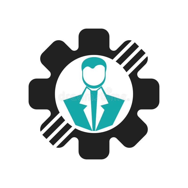 用户设置连接一个人的标志与在白色背景在顶头象传染媒介标志的一个钝齿轮和标志隔绝的,用户 向量例证