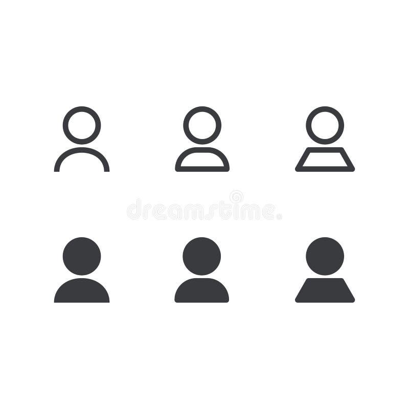 用户象集合 适应图标 人力符号 人标志 概述和积土象 皇族释放例证