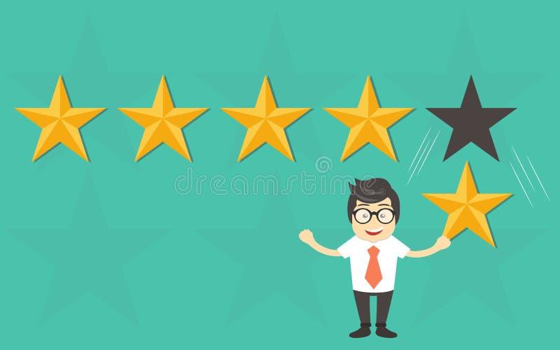 用户额定值,反馈,星规定值,质量工作 拿着金星的商人手中,给五 库存例证