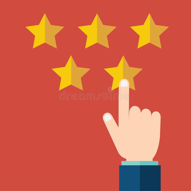 用户额定值,反馈,星规定值,质量工作 指向金星的商人,给五 评估系统 向量例证