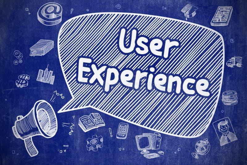 用户经验-在蓝色黑板的乱画例证 皇族释放例证