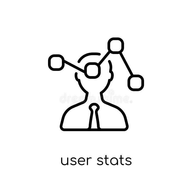 用户Stats象 时髦现代平的线性传染媒介用户Stats ico 向量例证
