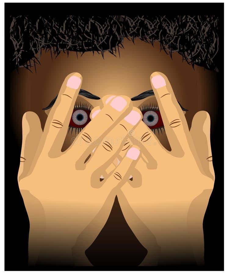 用手传染媒介例证强奸恶习前夕戏弄的安全概念例证盖的害怕面孔的例证 向量例证
