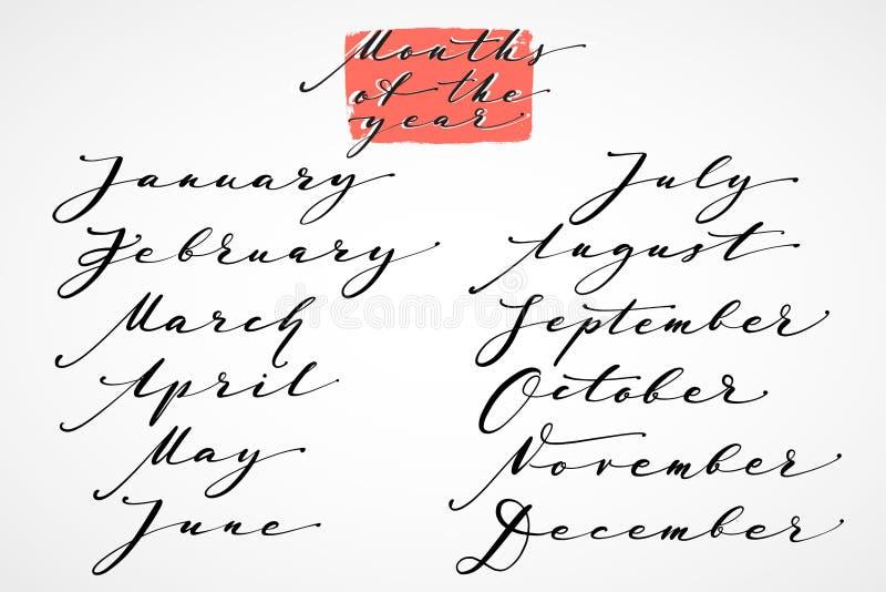 用手年的几个月 手拉的创造性的书法和刷子笔字法,日历的,海报设计 向量例证