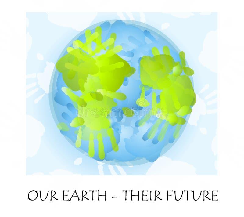 用手指画纯稚的地球 皇族释放例证