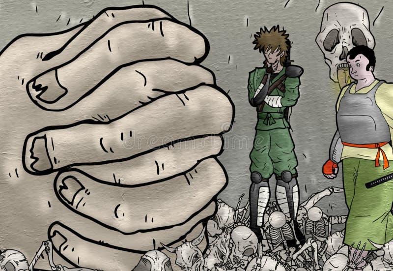 用手画有想象力的卡通人物 皇族释放例证