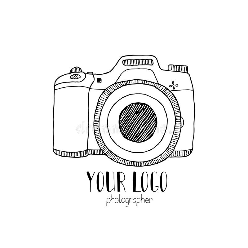 用手被画的照片照相机的剪影 向量例证