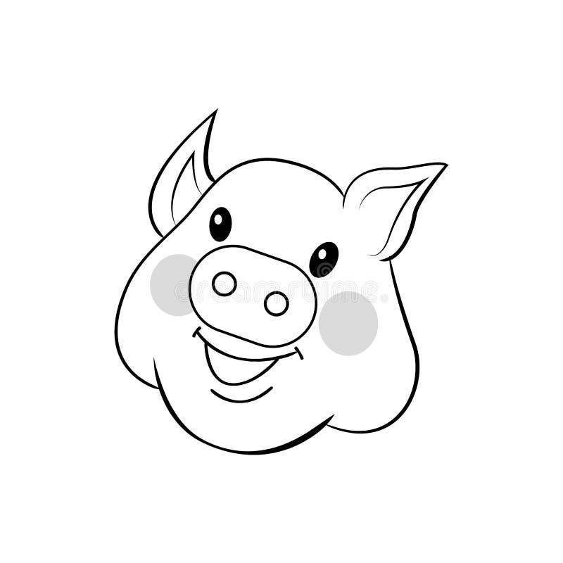 用手被画的猪 甜面孔猪 在白色背景隔绝的外形图传染媒介 向量例证