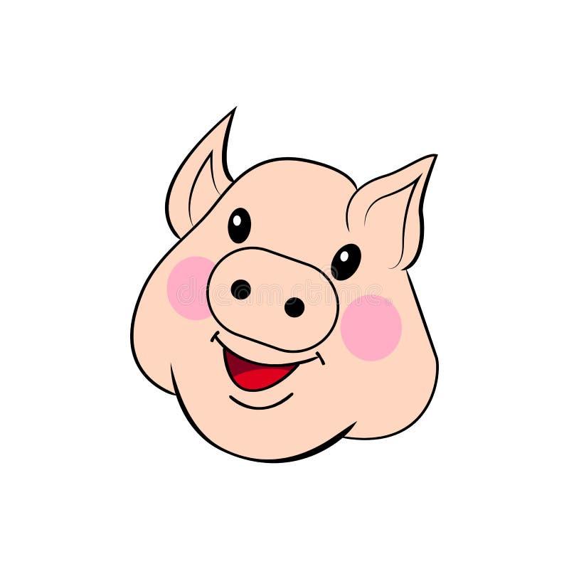 用手被画的猪 甜面孔猪 在白色背景隔绝的完整色彩的外形图传染媒介 库存例证