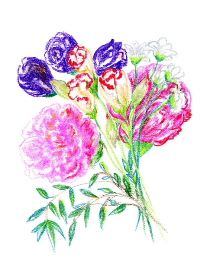用手被画的花美丽的花束  库存例证