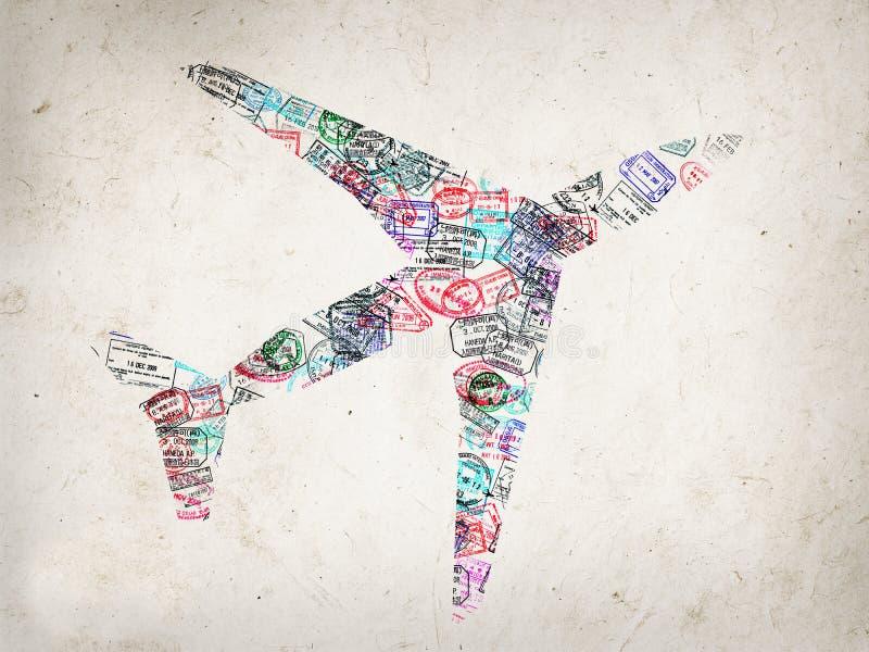 用护照创造的飞机的剪影盖印 库存图片