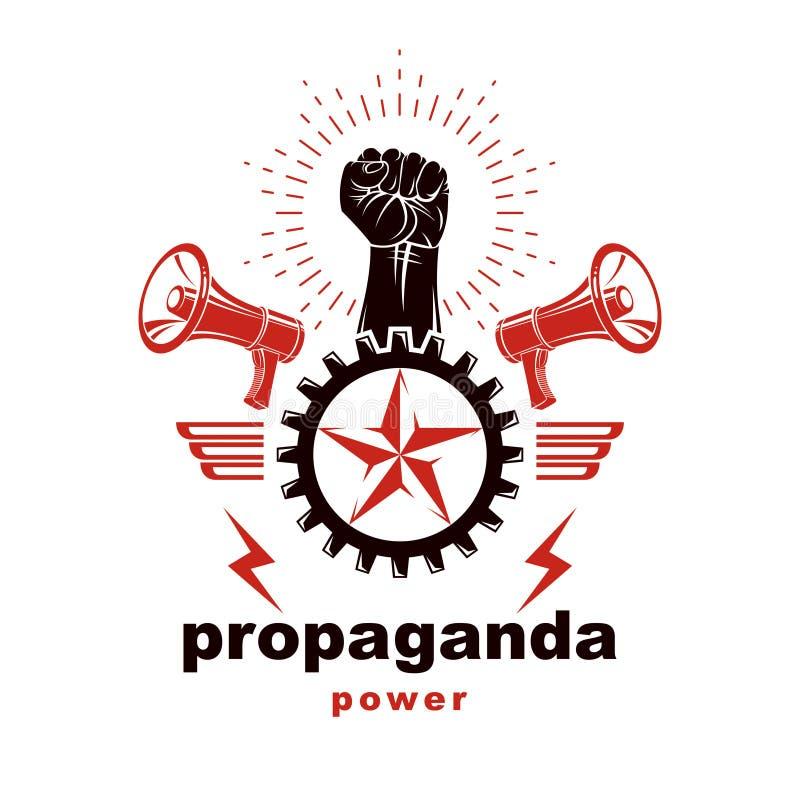 用握紧拳头举起的矢量营销旗、扬声器设备和工程齿轮元件 皇族释放例证