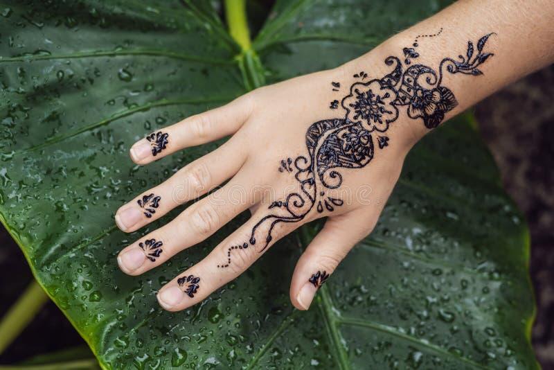 用无刺指甲花纹身花刺装饰的人的手的图片 Mehendi手 库存照片