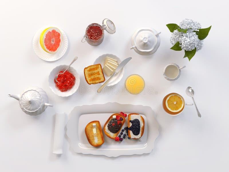 用早餐用茶、多士、黄油、汁液、果酱和葡萄柚在白色 3d例证 库存例证