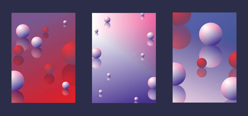 用明亮的梯度、shperes和反射做的抽象背景 集合有益于小册子设计,海报,创造性的装饰 库存例证