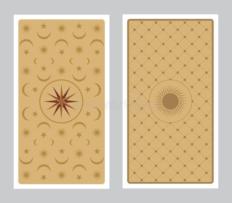 用星、太阳和月亮装饰的占卜用的纸牌 向量例证