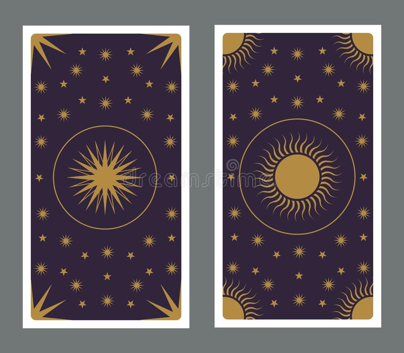 用星、太阳和月亮装饰的占卜用的纸牌 皇族释放例证
