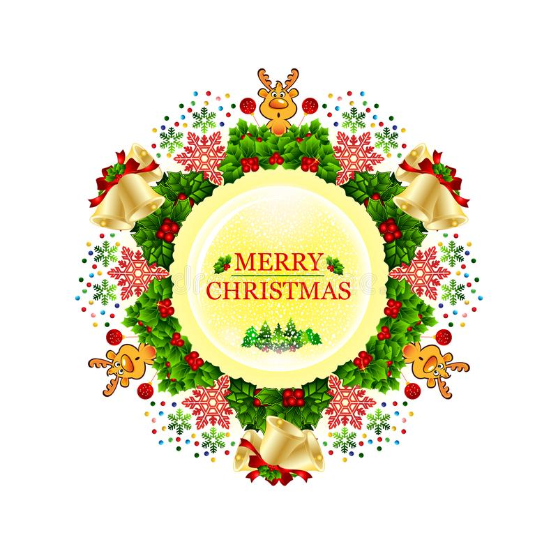 用星、雪花、弓、光和小的鹿装饰的圣诞节花圈 库存例证