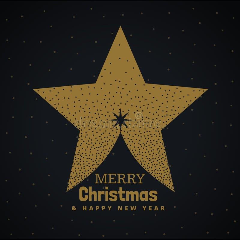 用星做的金黄圣诞树设计 皇族释放例证