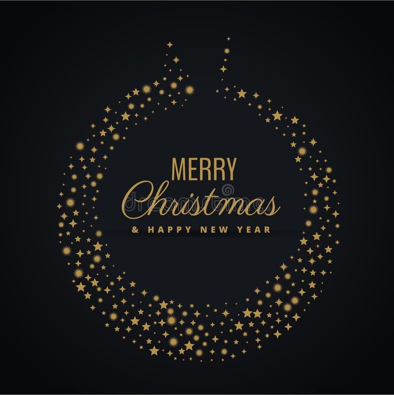 用星装饰做的金黄圣诞节球设计 皇族释放例证