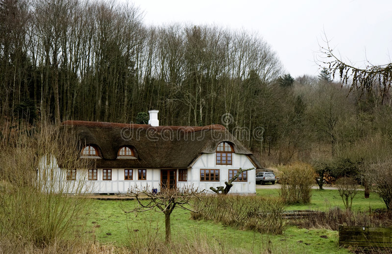用木材建造的森林半房子 免版税库存图片