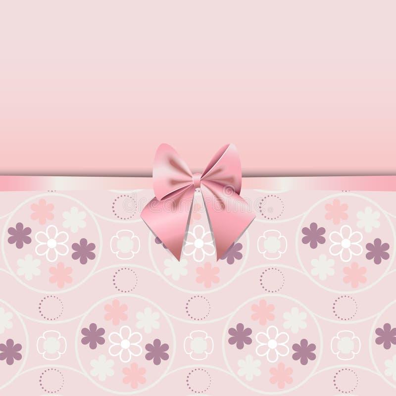 用桃红色丝带浪漫史装饰的蔷薇石英花无缝的样式 库存例证