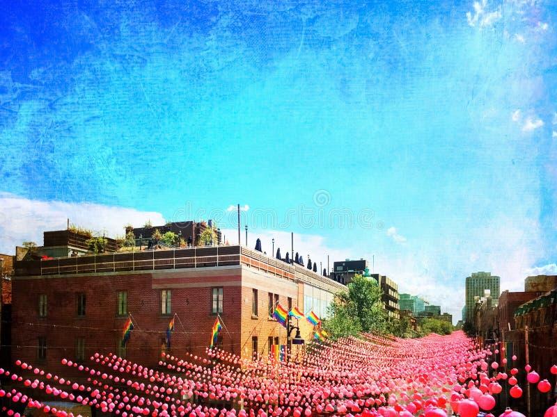 用桃红色球装饰的快乐邻里的减速火箭的样式图象 免版税库存图片