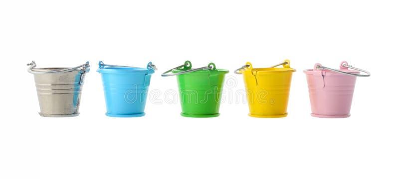用桶提五颜六色 免版税库存照片