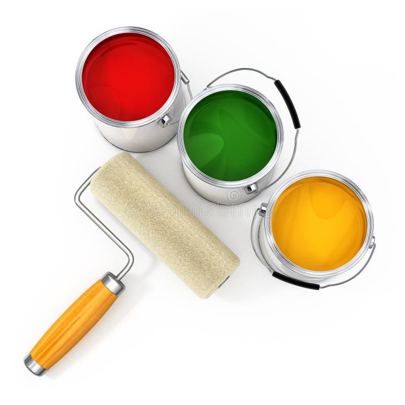 用桶提新的油漆漆滚筒 皇族释放例证