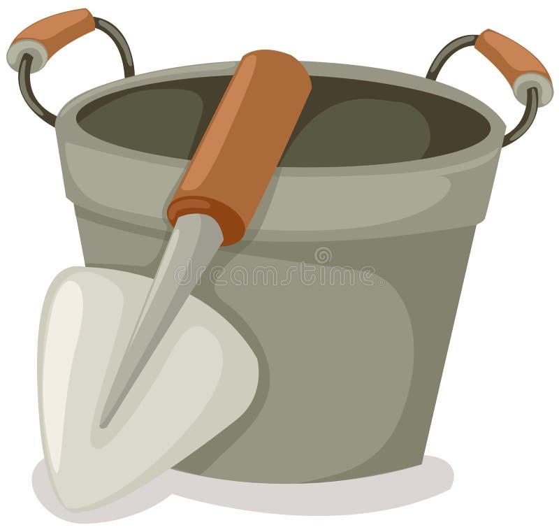 用桶提铁锹 皇族释放例证