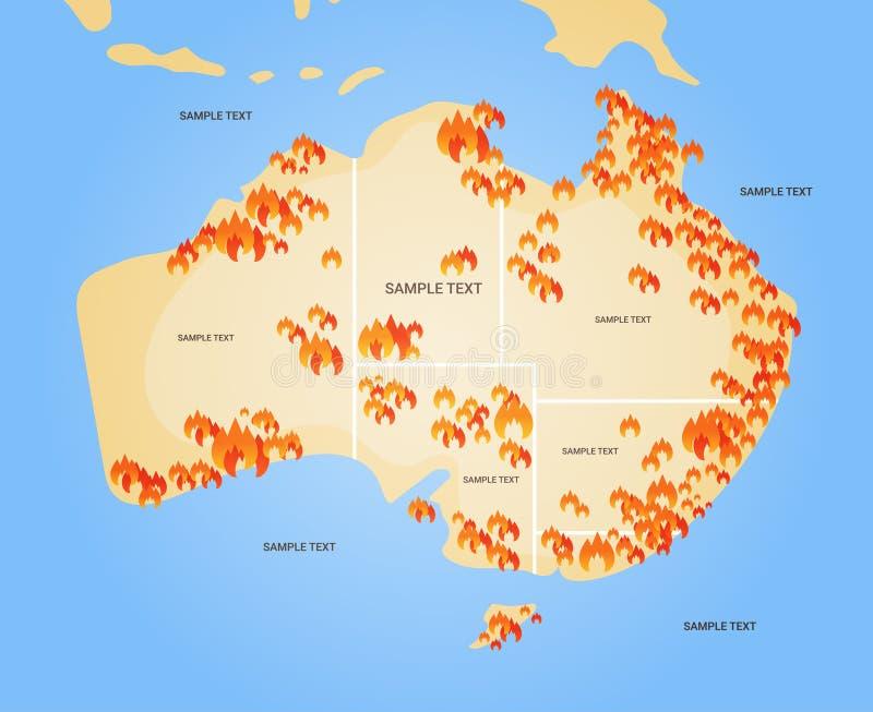 用森林火灾标志的澳大利亚地图季节性森林火灾干燥森林燃烧全球变暖的自然灾害概念 向量例证