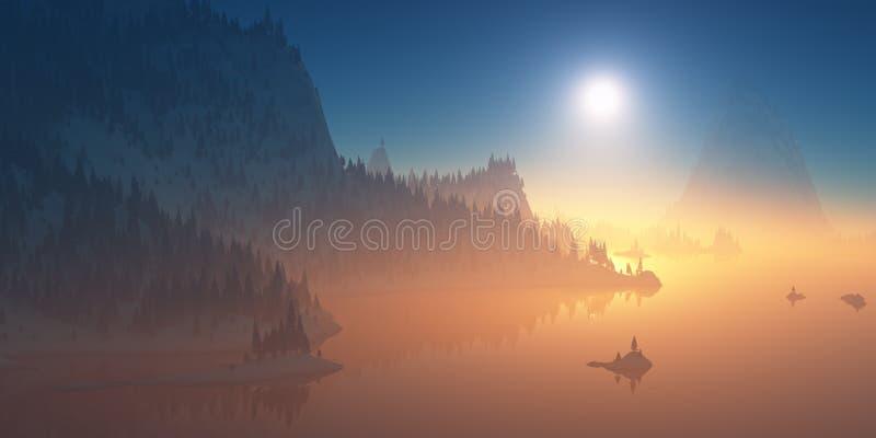 用森林盖的山小山在日落 图库摄影