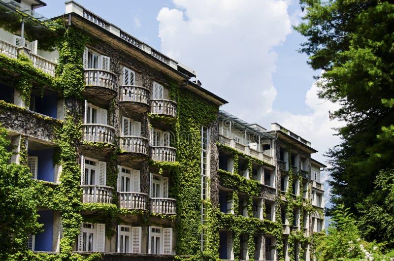 用植被盖的旅馆 免版税库存照片