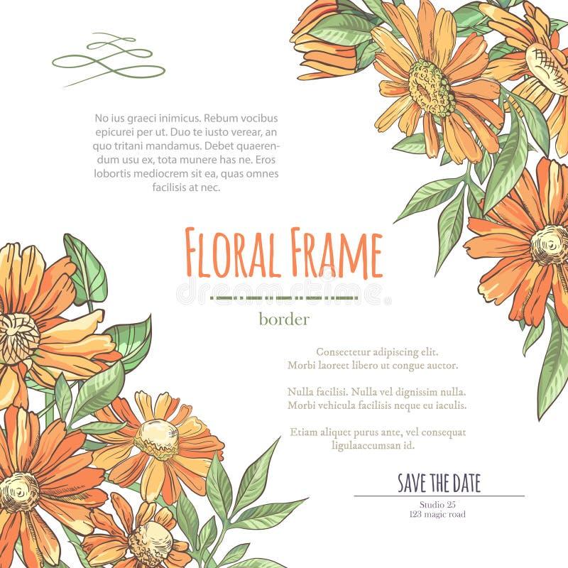 用橘子甘菊来精心准备婚礼、结婚、婚嫁、生日、情人节的邀请 库存照片