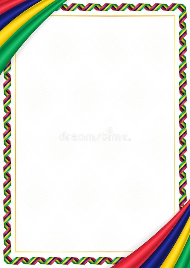 用毛里求斯全国颜色做的边界 库存例证