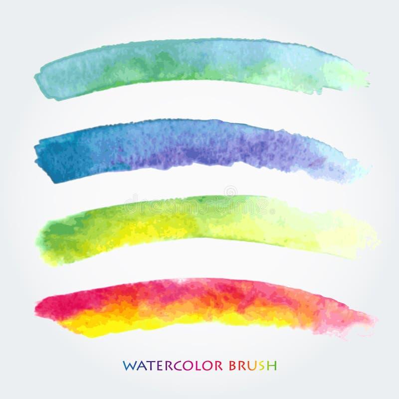 用水彩创造的设置色的刷子冲程 保存在刷子调色板 库存例证