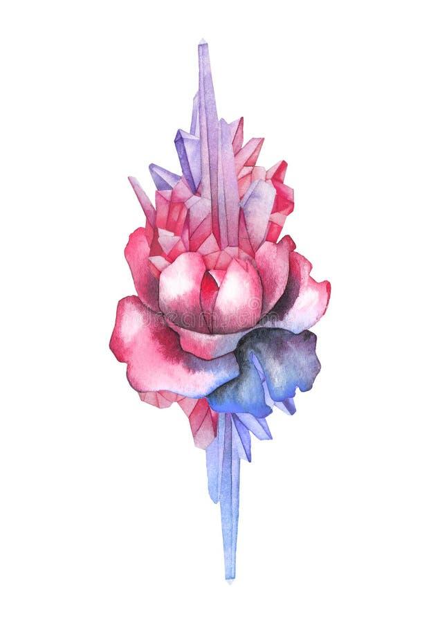 用水晶装饰的水彩玫瑰色小插图 库存例证