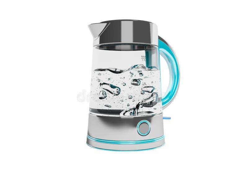用沸水3D打开电烧水壶的概念在白色背景下无阴影 皇族释放例证