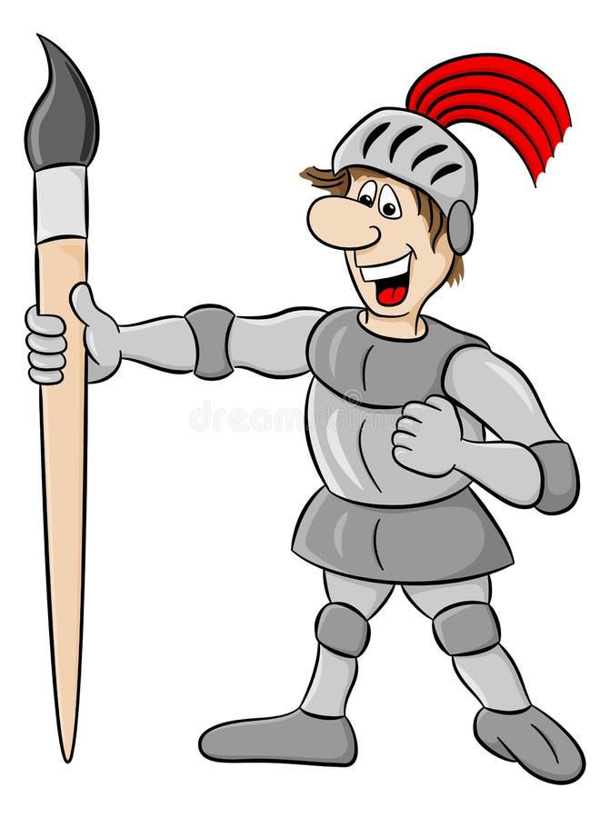 用油漆刷武装的小骑士 皇族释放例证