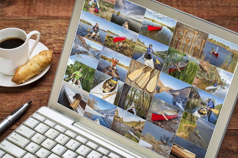 用浆划图片的独木舟画廊 图库摄影