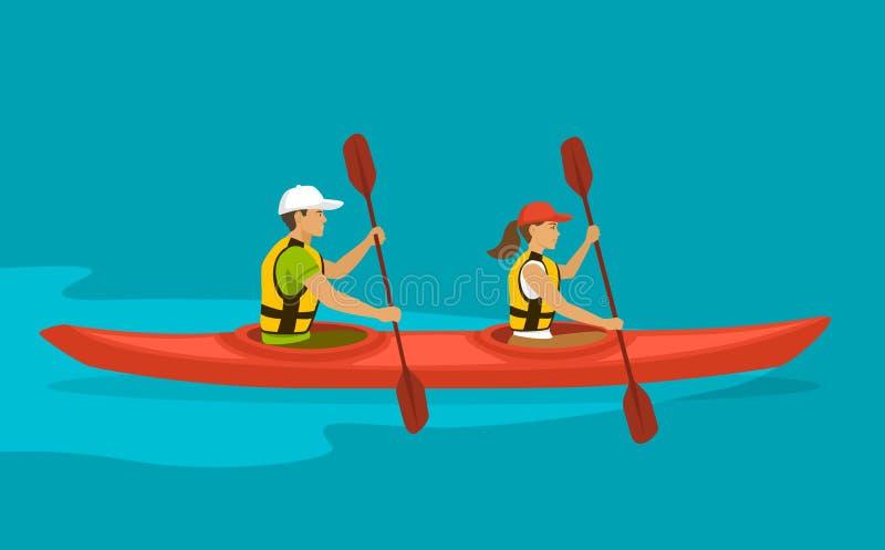 用浆划在双重皮船的夫妇划船 向量例证