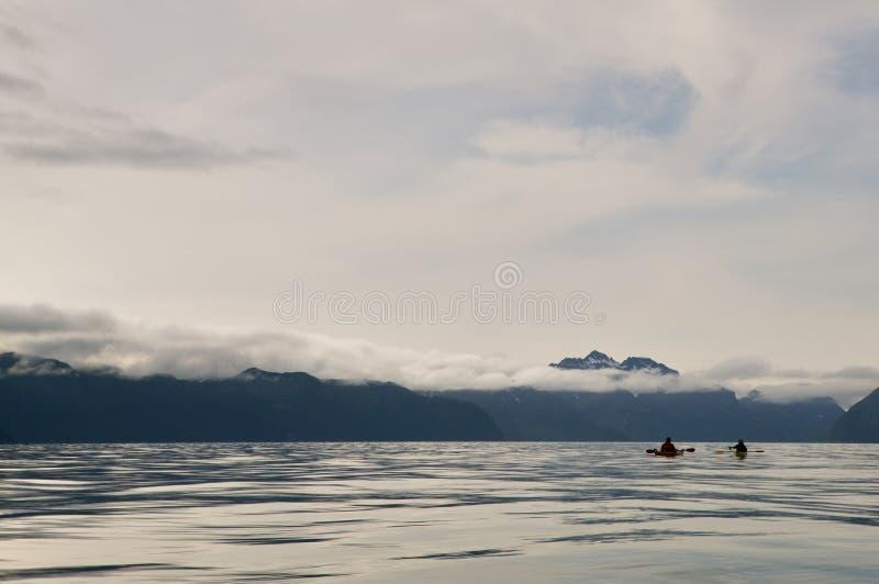 用浆划在威廉王子湾,美国的两艘皮艇 库存图片