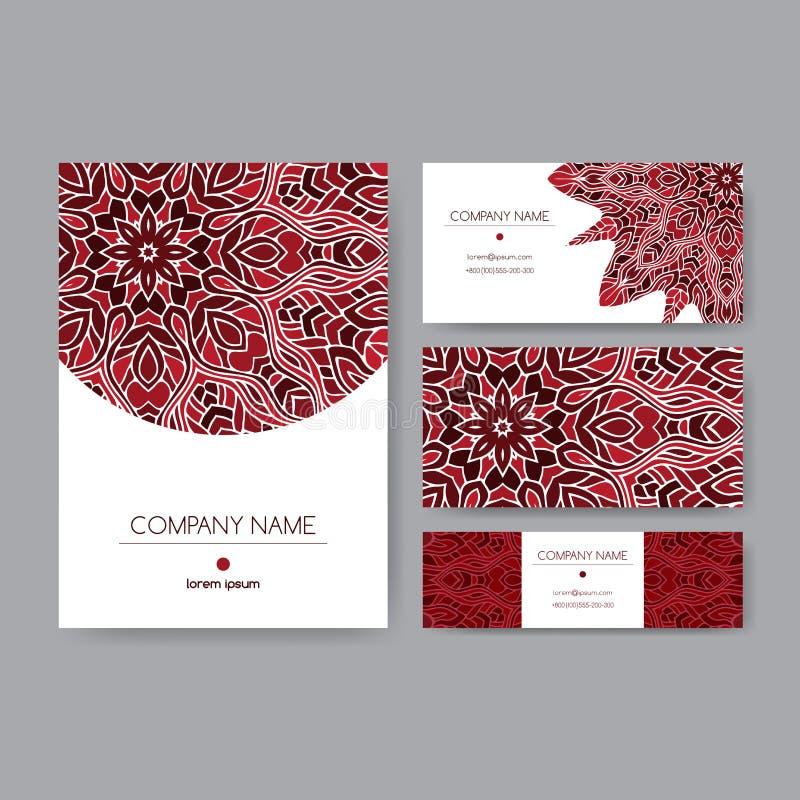 用深红坛场种族样式装饰的企业集合 库存例证