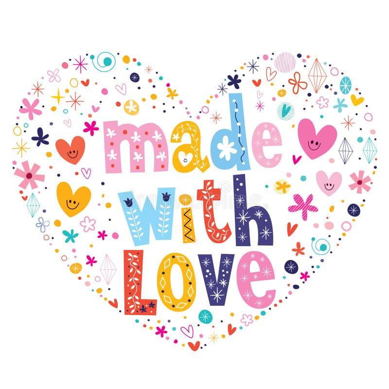 用爱心形的印刷术字法传染媒介设计做 向量例证