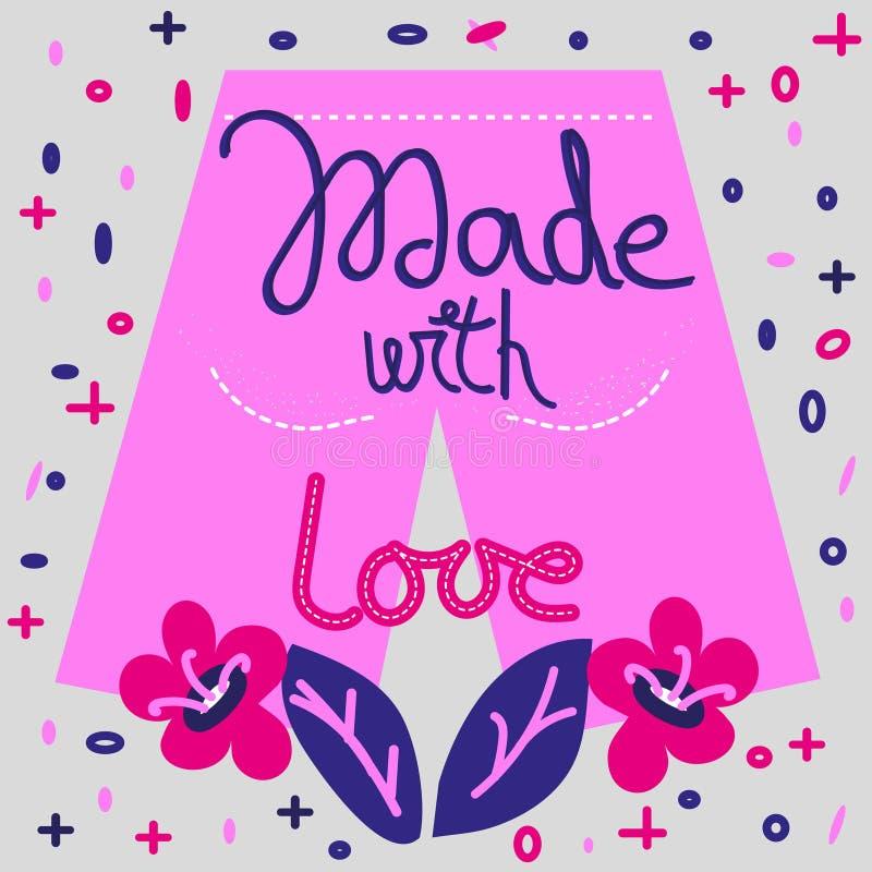 用爱行情手拉的深蓝和逗人喜爱的粉色做,字法 在斯堪的纳维亚样式的装饰元素 皇族释放例证