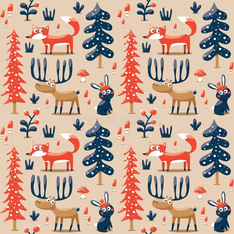 用狐狸做的新的无缝的逗人喜爱的冬天圣诞节样式,兔子,蘑菇,灌木,植物,雪,树 向量例证