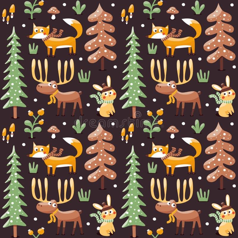 用狐狸做的无缝的逗人喜爱的冬天圣诞节样式,兔子,蘑菇,麋,灌木,植物,雪,树 向量例证