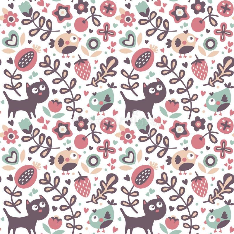用猫做的无缝的逗人喜爱的动物样式,鸟,花,植物,叶子,莓果,心脏,朋友,花卉,自然 皇族释放例证