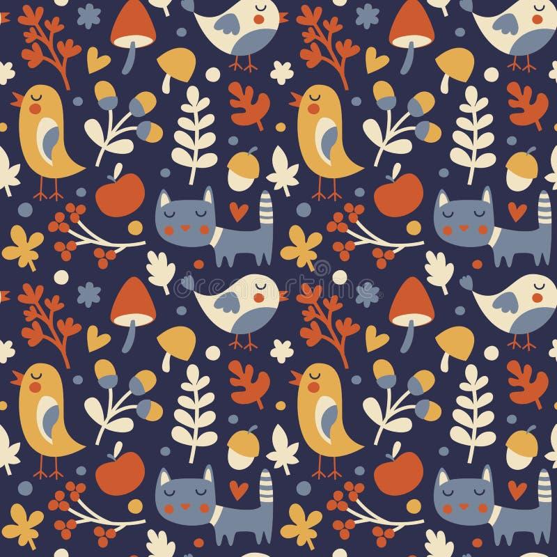 用猫做的无缝的逗人喜爱的秋天样式,鸟,花,植物,叶子,莓果,心脏,朋友,花卉,自然,橡子 向量例证